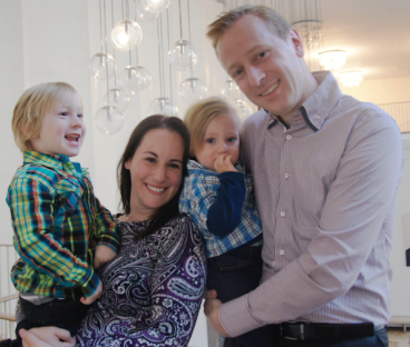 Nili Bueckert, co-creater of Toddler Tales, with her husband and two sons